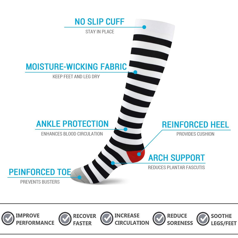 15-20mmhg SWOLF Compression Socks Women /& Men Patterned Mild Compression Stockings for Running Flight Travel Fitness 3//7 Pairs Athletic Sports Pregnancy Nursing Graduated Support Socks