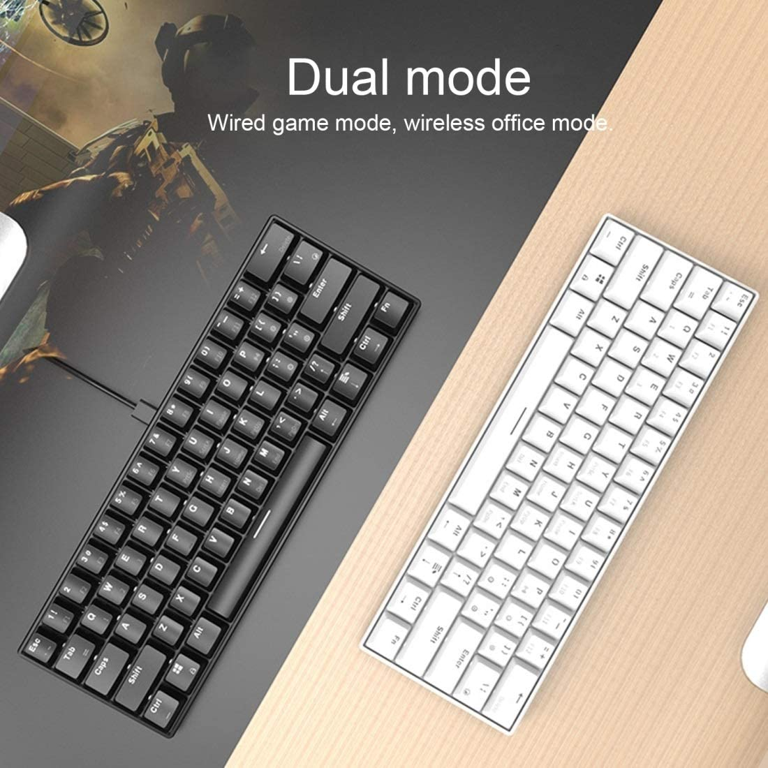Color : Color2 JINGZ I610T 61 Keys Tablet Mobile Phone Computer Dual-Mode Mechanical Bluetooth Keyboard Premium Material