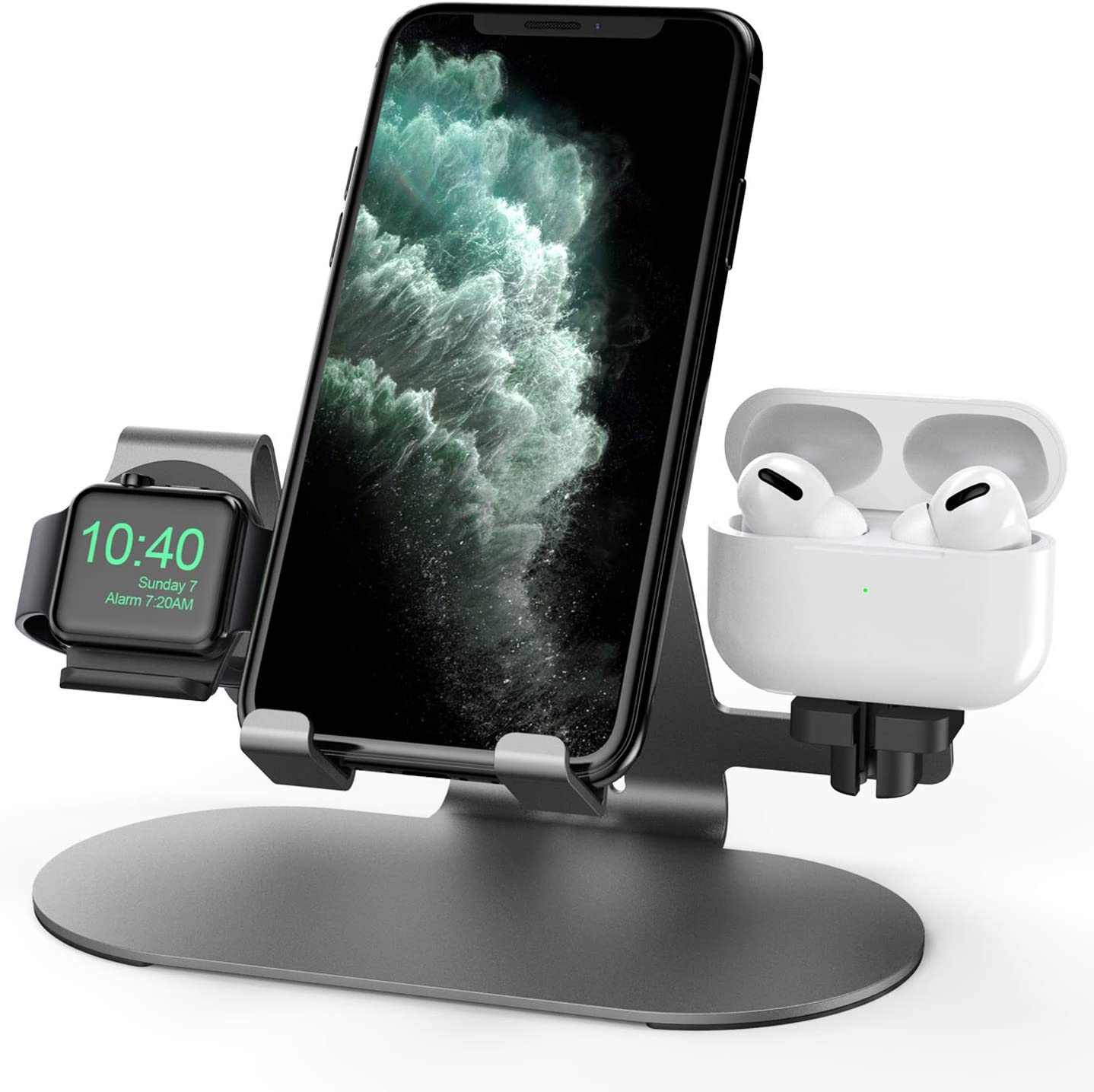 3 in 1 Aluminum Charging Station for Apple Watch Charger Stand Dock for iWatch Series 4/3/2/1,iPad,AirPods and iPhone Xs/X Max/XR/X/8/8Plus/7/7 Plus /6S /6S Plus( Space Gray)