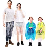 MOVTOTOP Rain Ponchos for Adults and Kids, Poncho Family Pack Waterproof for Emergency, Portable Rain Poncho with Drawstring Hood and Elastic Sleeve for Hiking Theme Park Outdoor