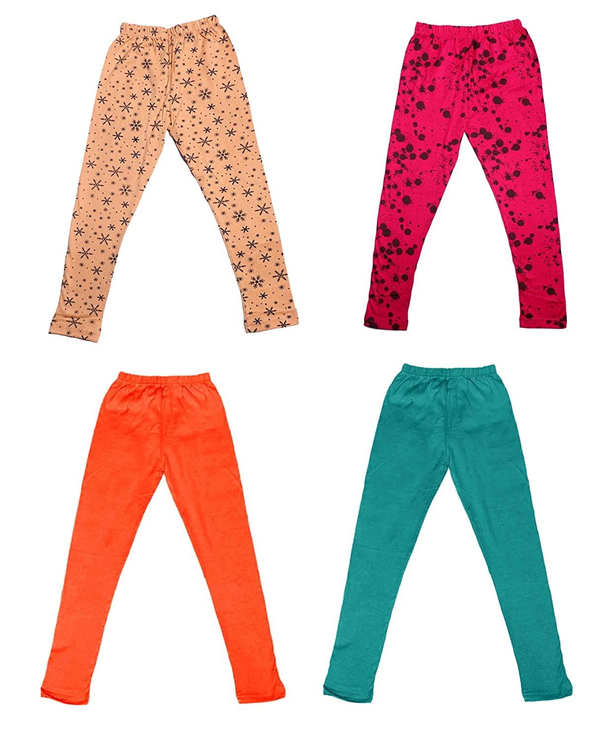 Pack Of 4 /_Multicolor/_Size-9-10 Years/_71414151920-IW-P4-32 and 2 Cotton Printed Legging Pants Indistar Girls 2 Cotton Solid Legging Pants