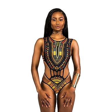 01530078016d6 IWEMEK Sexy Women High Neck African Style Print High Cut Hollow Bikini  Swimsuit Bandage String Erotic