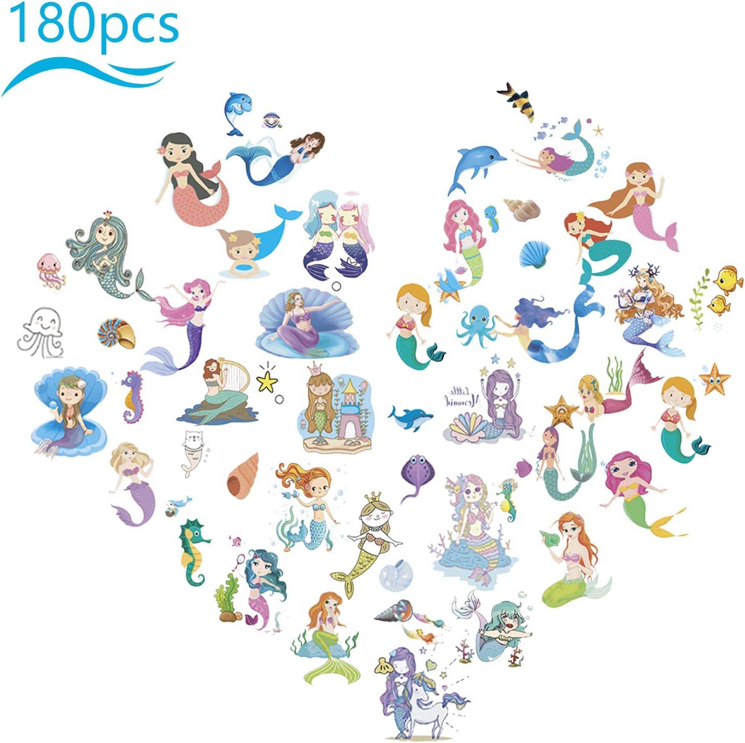 ZERHOK 12Stk Meerjungfrau Leuchten Armb/änder mit 10tlg Mermaid Tattoos mitgebsel Silikonarmband f/ür M/ädchen Kinder Geburtstag Geschenke Meerjungfrau Party