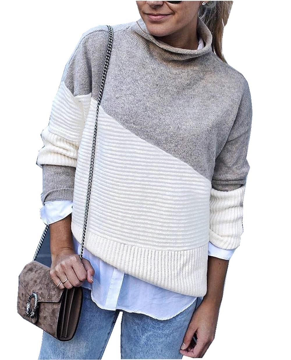 ce09110b959a Asskdan Women s Long Sleeve Turtleneck High Neck Color Block Sweater ...