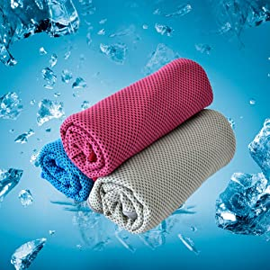 """FLINCOUS Cooling Towel, 40""""x12"""" Soft Breathable Ice Towel, Microfiber Towel for Yoga, Running, Gym, Workout, Camping (Blue/Grey/Rose)"""