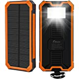 15000mAh Solar Charger F.Dorla Portable Power Bank Solar Phone Charger Waterproof Dual USB Battery Charger External Backup Battery with Flashlight for Cellphone iPhone Samsung Android iPad (Orange)