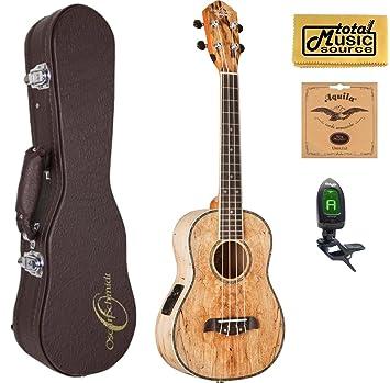 Oscar Schmidt Spalted ukelele Tenor (acústica/eléctrica de mango, ou7te, W/Carcasa rígida, sintonizador, cuerdas y PC: Amazon.es: Instrumentos musicales