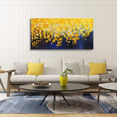 MUHUA Yellow Flower Decorative Painting 100 Hand Painted 3D Oil Painting Artworks Canvas Painting Stretched Framed Ready to Hang 24 x 48