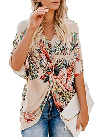 8498ba6afbd LOSRLY Women V Neck Casual Floral Printed Shirt Short Sleeve Front Twisted  Blouses and Tops
