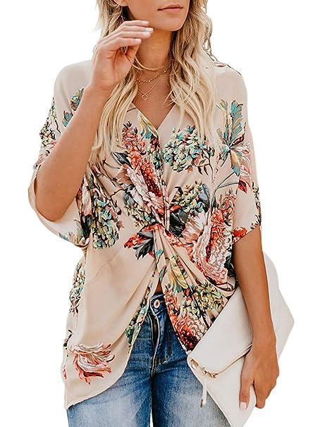 Amazon.com: LOSRLY Blusas y blusas de manga corta con ...