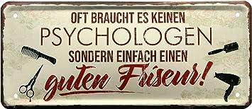 Oft Reicht Guter Friseur Statt Psychologe 28x12 Deko Blechschild 2036