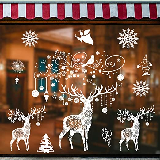 Outgeek Weihnachten Fenster Aufkleber Schneeflocke Dekor Wand Aufkleber Schaufenster Kunst Aufkleber