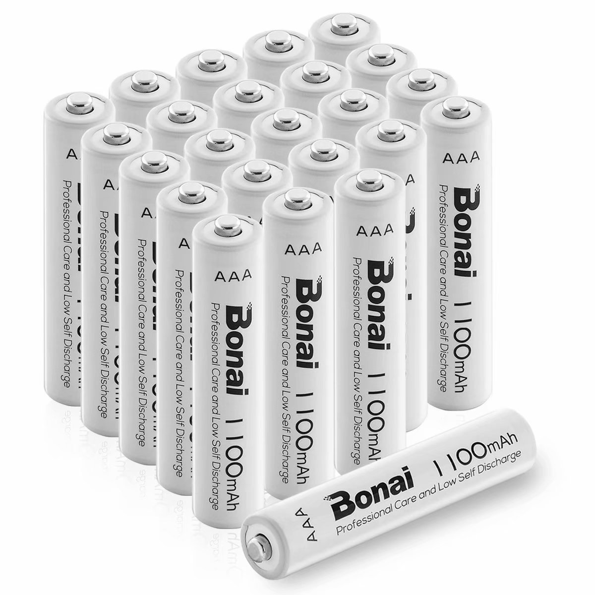 BONAI 1100mAh AAA Rechargeable Batteries 24 Pack 1.2V Ni-MH High-Capacity Batteries - UL Certificate Triple a Batteries by BONAI