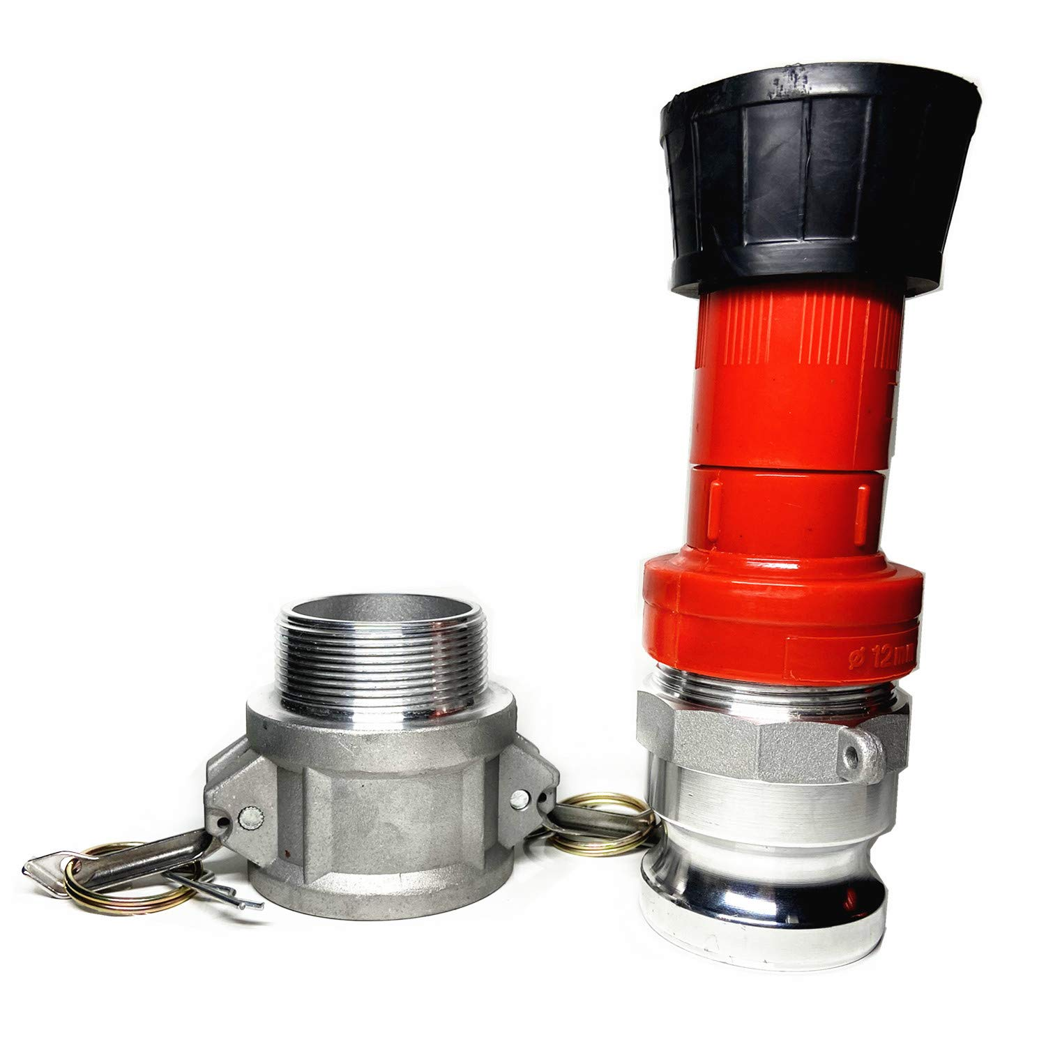 SAFBY Fire Hose Nozzle 1.5 Inch NPSH//NPT Thermoplastic Fire Equipment Spray Jet Fog with 1.5 Inch Aluminum Female and Male Fitting