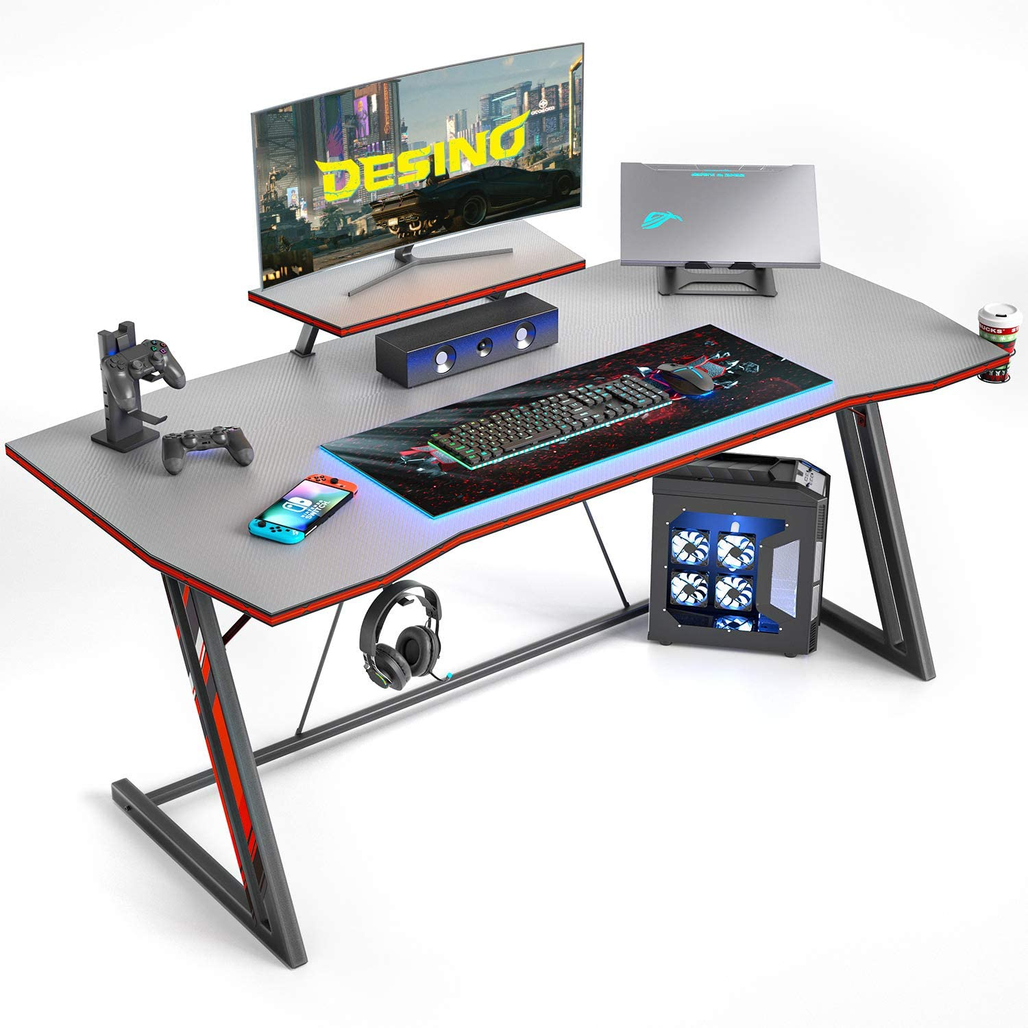 DESINO Gaming Desk 47 inch PC Computer Desk, Home Office Desk Gaming Table Z Shaped Gamer Workstation with Cup Holder and Headphone Hook, Gray