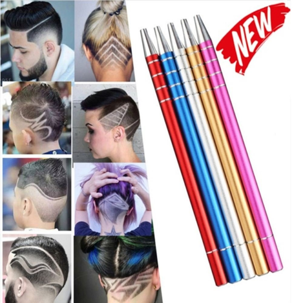 Multi-function Razor Pen Professional Design Hair Styling Eyebrow Beard Pen Shaving Engraved Pen With 10 Blades(Rose Red)