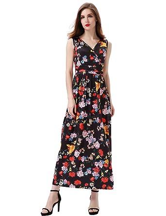 55e6febb4d1 Aphratti Women s Bohemian Sleeveless Beach Sundress Empire Long Maxi Dress  Small Black