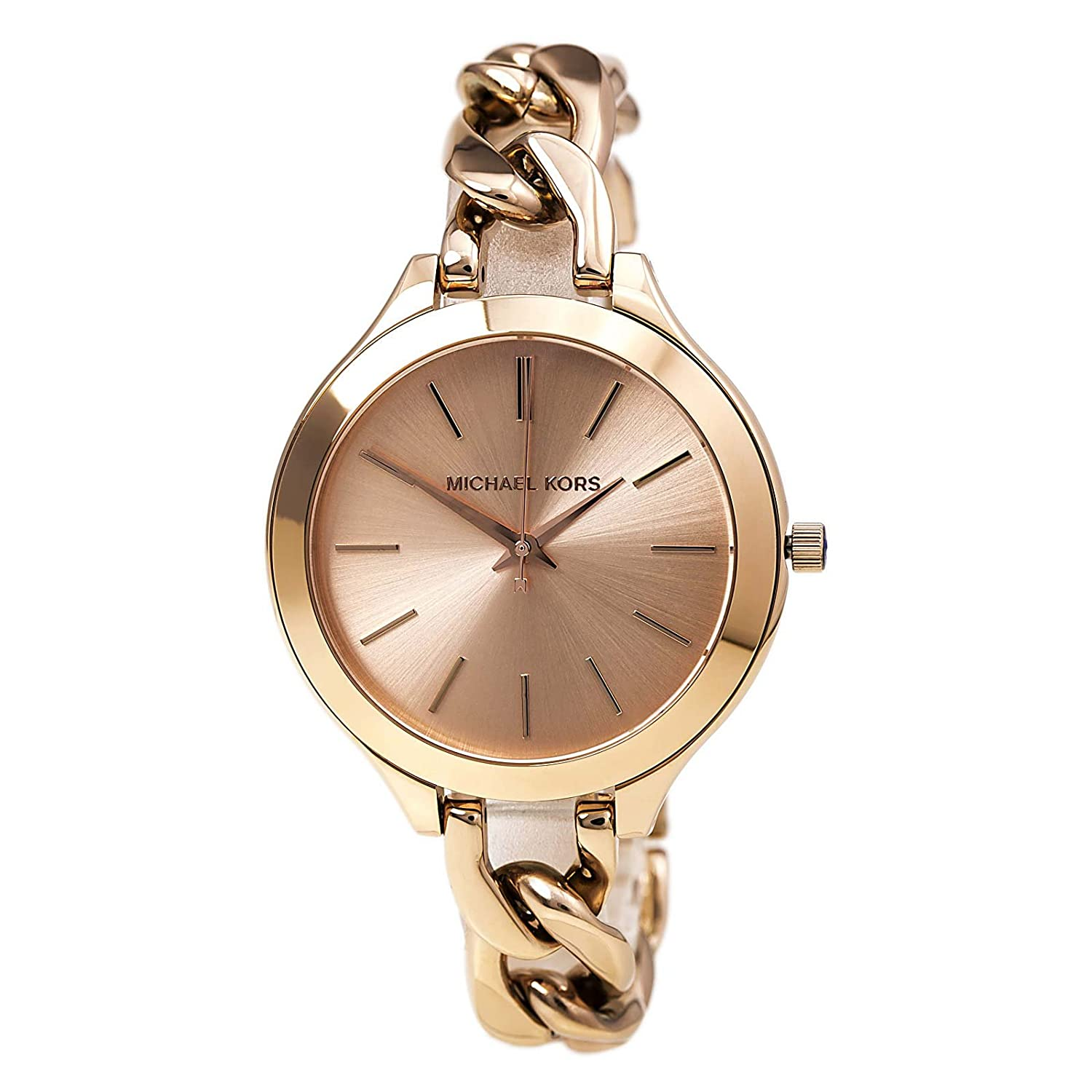 3a8937c34c56 Amazon.com  Michael Kors Women s MK3223 Slim Runway Rose Gold-Tone  Stainless Steel Bracelet Watch  Michael Kors  Watches