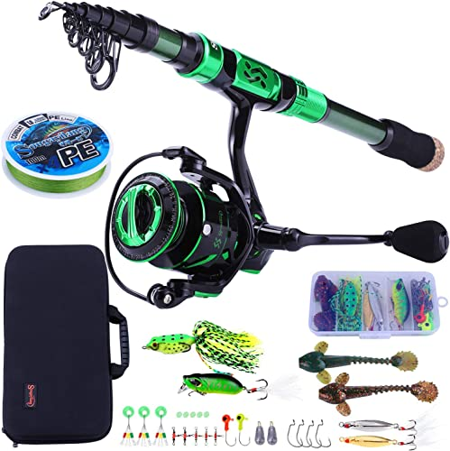 Sougayilang Fishing Rod and Reel Combos – Carbon Fiber Telescopic Fishing Pole – Spinning Reel 12 1 BB with Carrying Case for Saltwater and Freshwater Fishing Gear Kit