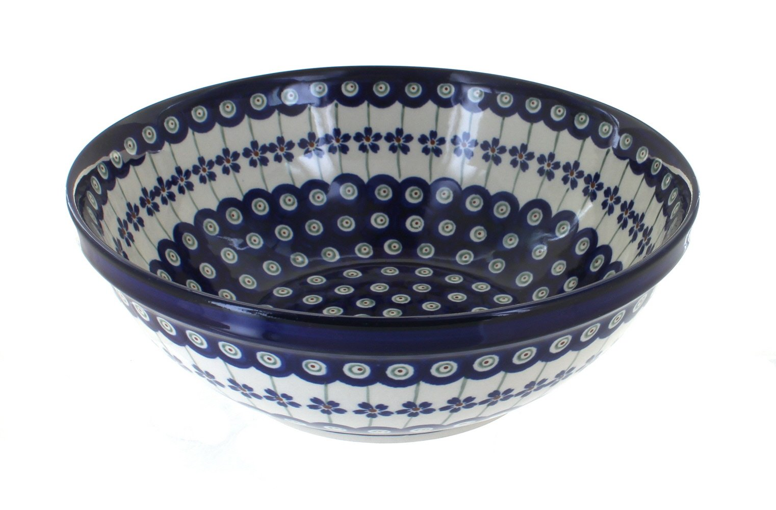 Polish Pottery Flowering Peacock Large Serving Bowl