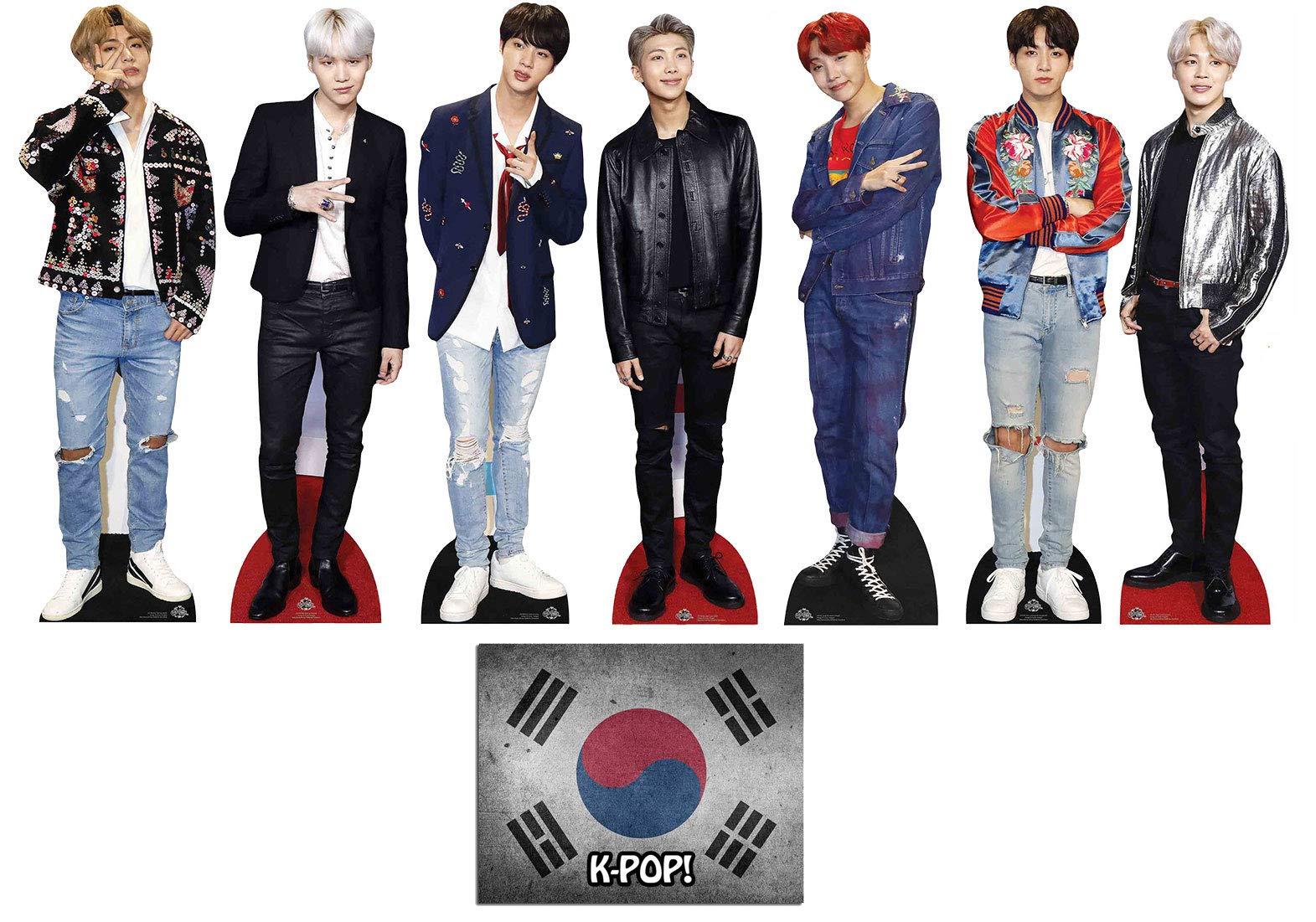 Bangtan Boys with V, Suga, Jin, Jungkook, RM, Jimin and J-Hope Set of 7 Mini Cardboard Cutouts, Fan Pack, Includes 8x10 Star Photo