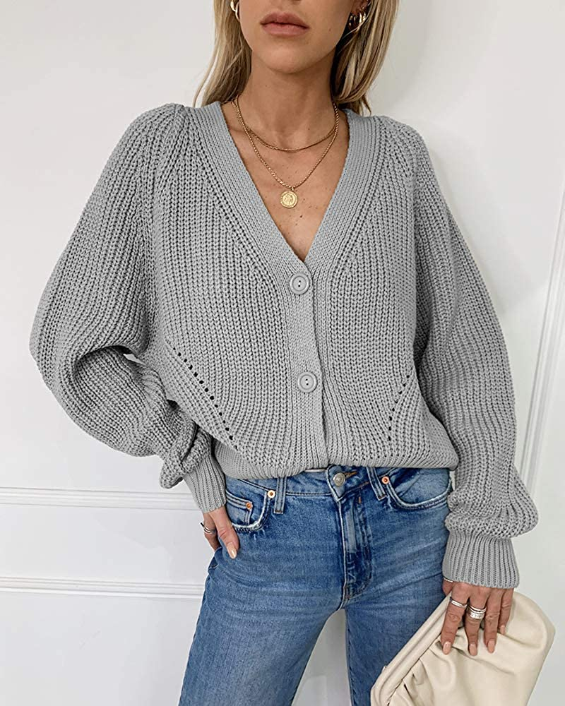 Chigant Womens V Neck Lantern Sleeves Open Front Button Down Knitted Sweater Cardigan Coat Outwear