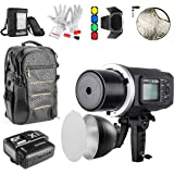 Godox AD600BM Bowens Mount 600Ws GN87 HSS Outdoor Flash Strobe Monoight 500 Full Power Flashes 0.01-2.5S Recycle Time with X1C Wireless Trigger/Backpack/Barn Door/Standard Reflector for Canon