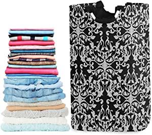 visesunny Baroque Damask Luxury Pattern Large Laundry Bag Collapsible Oxford Fabric Laundry Hamper Foldable Portable Laundry Basket with Handles for Bathroom, Bedroom, Home