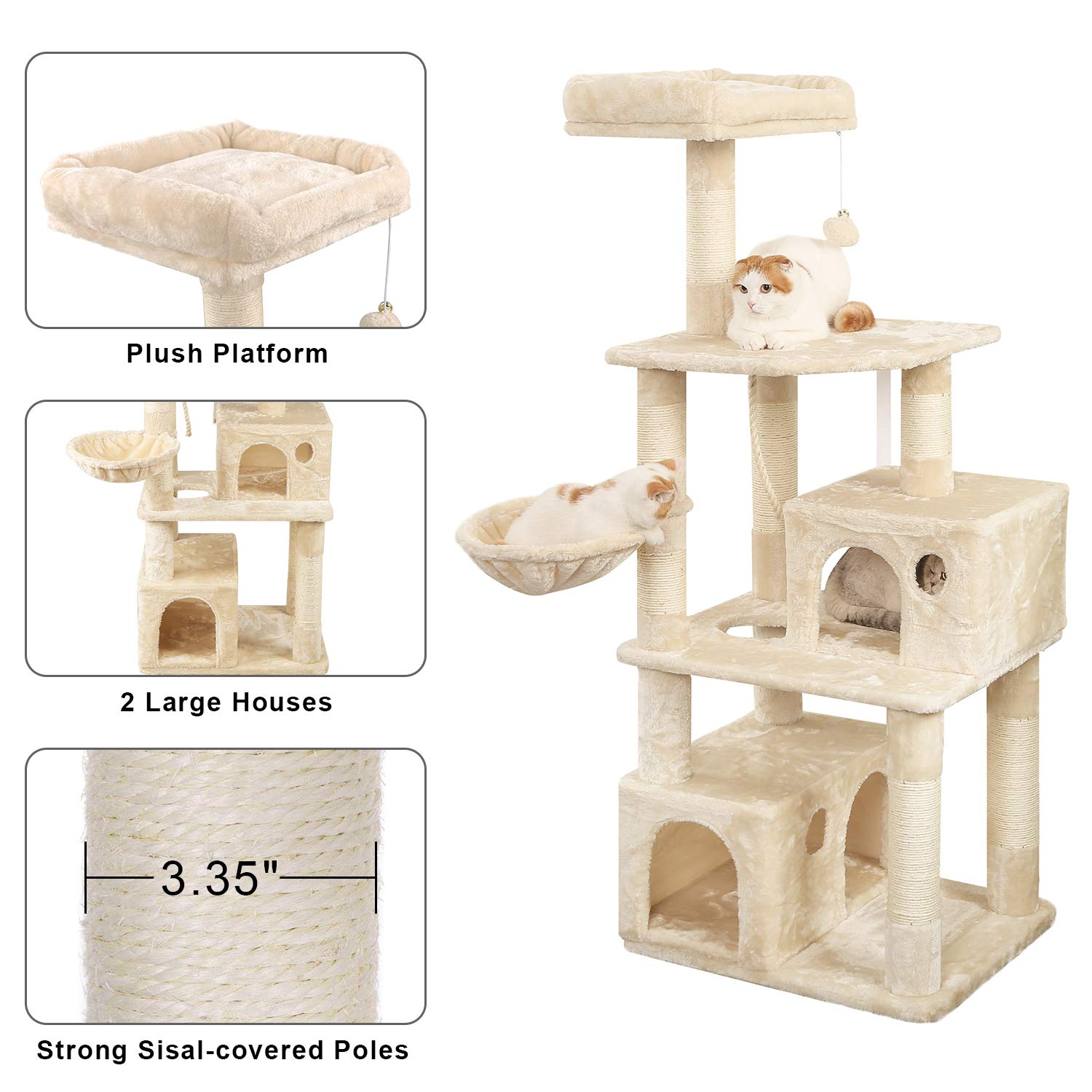 WLIVE 59'' Large Cat Tree Condo with Sisal Scratching Posts, 2 Plush Condos and Basket Lounger, Cat Tower Furniture WF062A by WLIVE (Image #3)