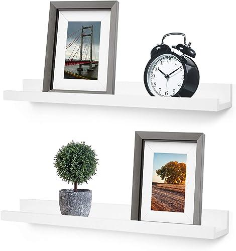 Greenco Wall Mounted Photo Ledge Floating Shelves White, 24 Inch- Set of 2