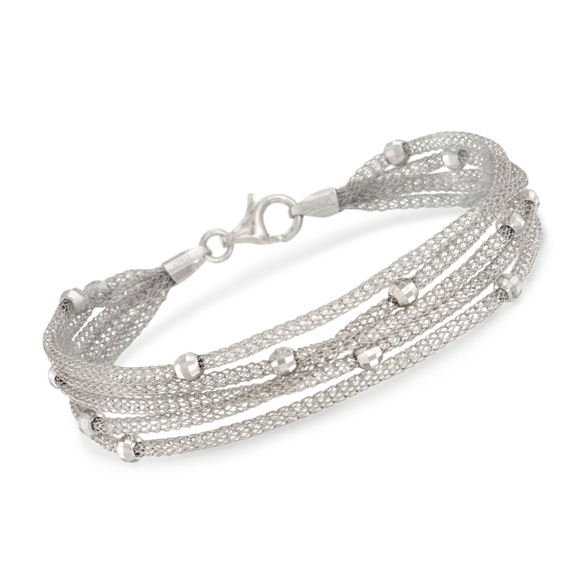 Ross-Simons Italian Sterling Silver 5-Strand Beaded Mesh Bracelet by Ross-Simons