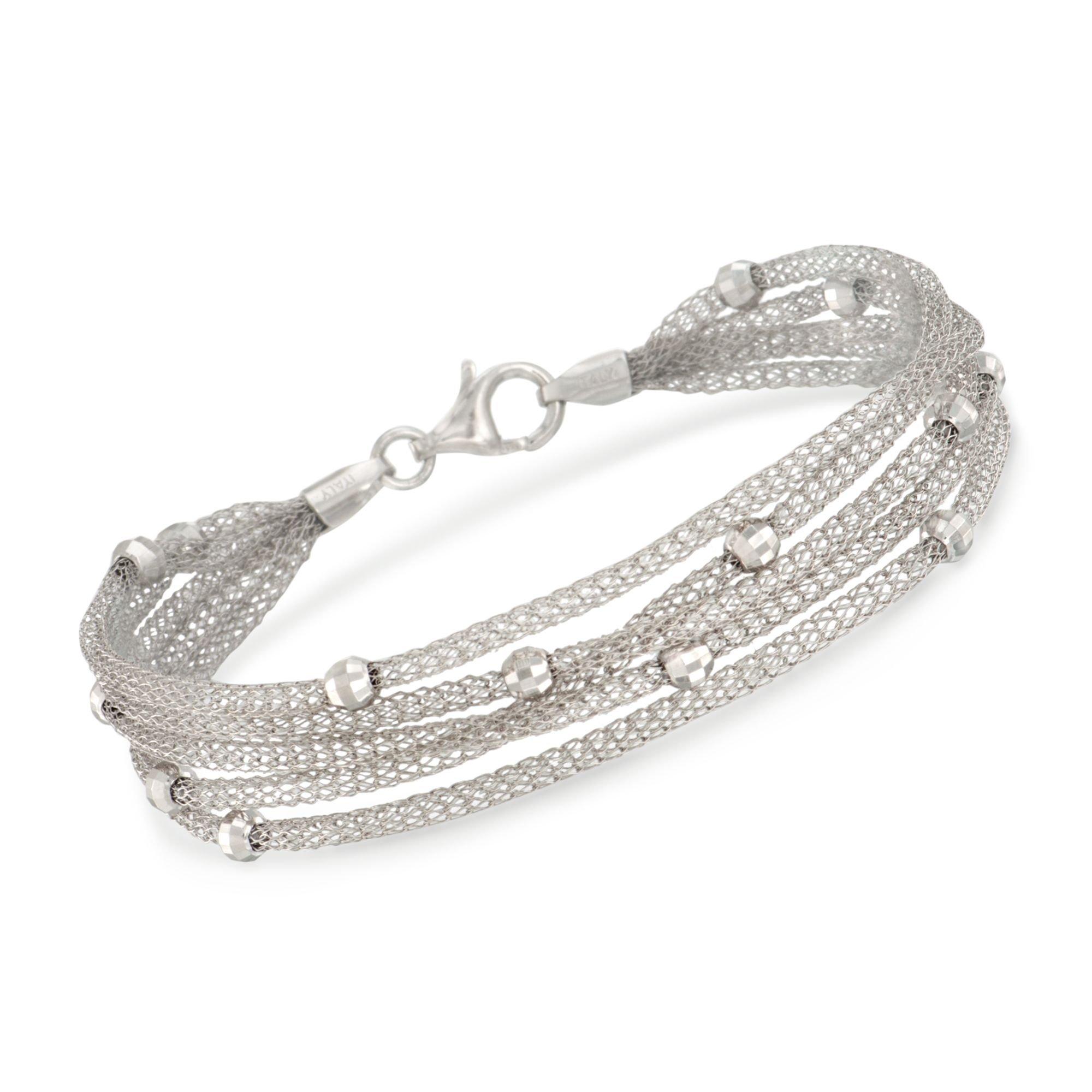 Ross-Simons Italian Sterling Silver Five-Strand Beaded Mesh Bracelet