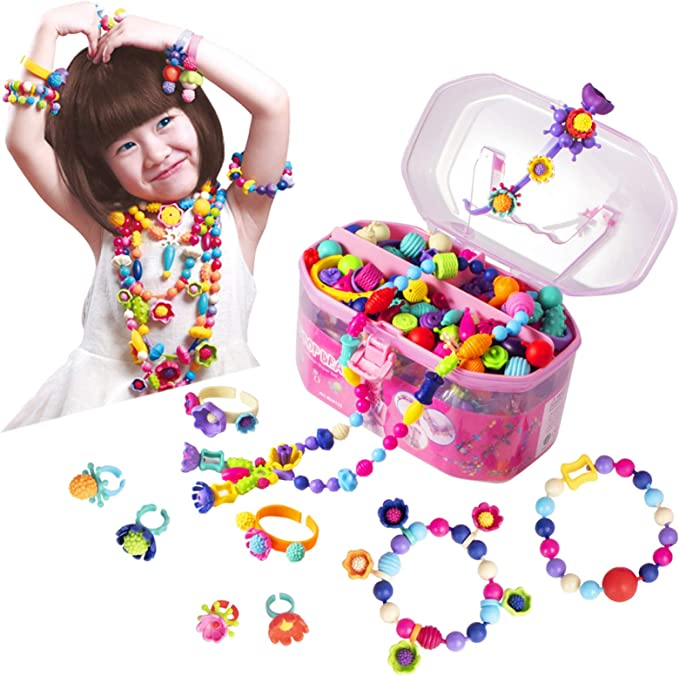 light color DIY Bracelet Beads Colorful Plastic 24 Compartments Jewelry Making Bead Art Kit in PVC Box Hair Hoop Gift for Children Girls 450 Pieces HBYMYDA Beads Set for Kids