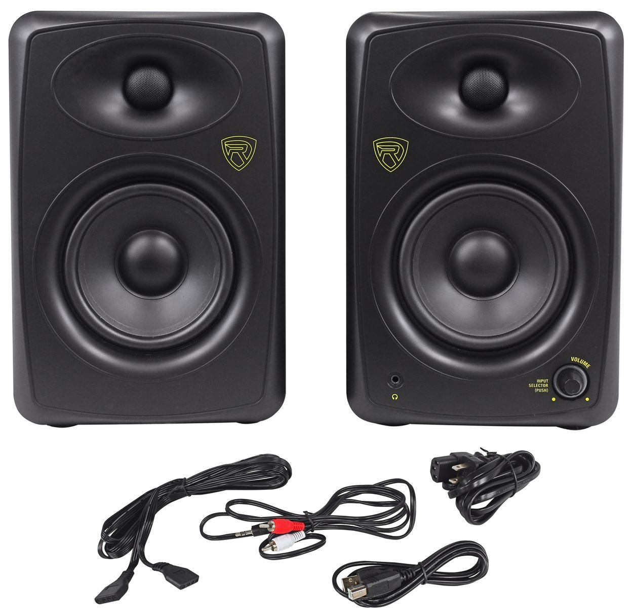 Rockville ASM5 5-Inch 2-Way 200W Active/Powered USB Studio Monitor Speakers Pair Audiosavings