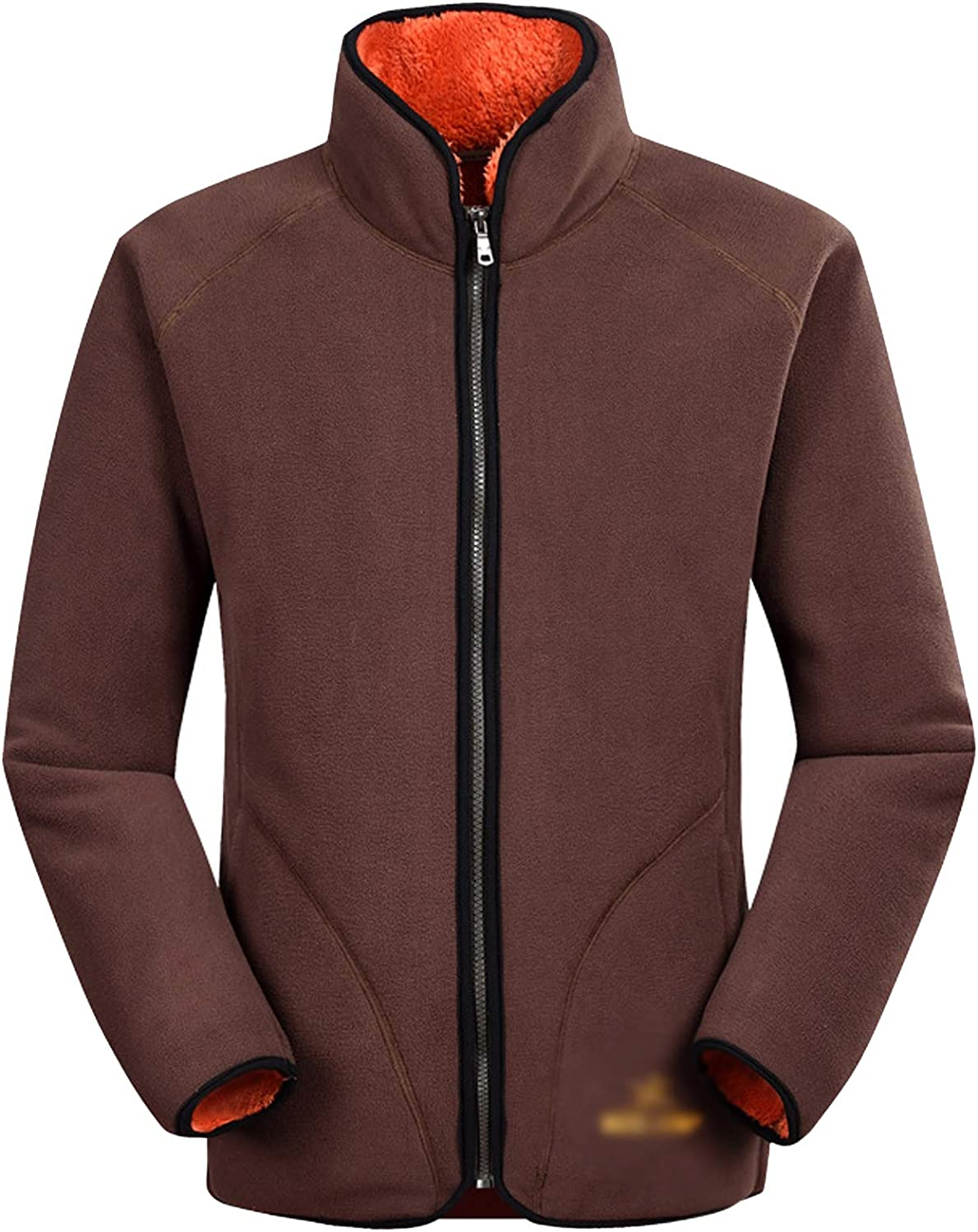 Flygo Mens Full Zip Polar Fleece Sherpa Jacket Lightweight Thermal Sport Coat
