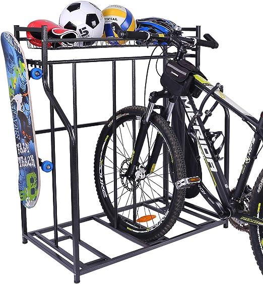 Outdoor Bike Storage 4 Bikes Floor Stand Storage Rack Garage Park Home Indoor