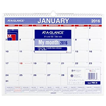 Amazon.com : AT-A-GLANCE Monthly Wall Calendar 2016, 12 Months, 14 ...