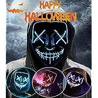 ALINILA Mascaras Halloween de Terror LED MáScara Luminosa,Purga Grimace Mask 4 Modos de Parpadeo Controlables y…