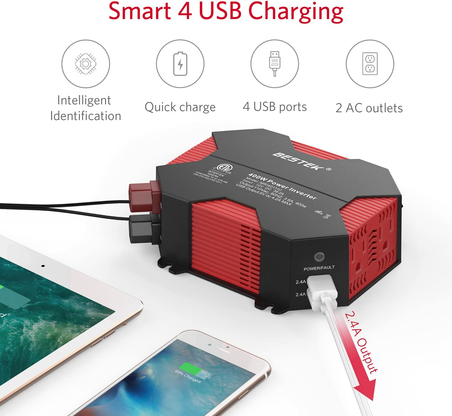 BESTEK 400W Car Power Inverter DC 12V to AC 110V Car Adapter with 5A 4 USB Charging Ports: Automotive
