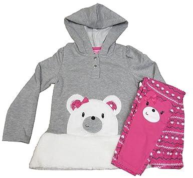 6c8df2a5 Amazon.com: Nannette Little Girls' 2 Pc Bear Hoodie With Faux Fur ...