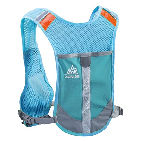 JEELAD Reflective Running Vest Hydration Vest Hydration Pack Backpack for Jogging Cycling (Blue - Only