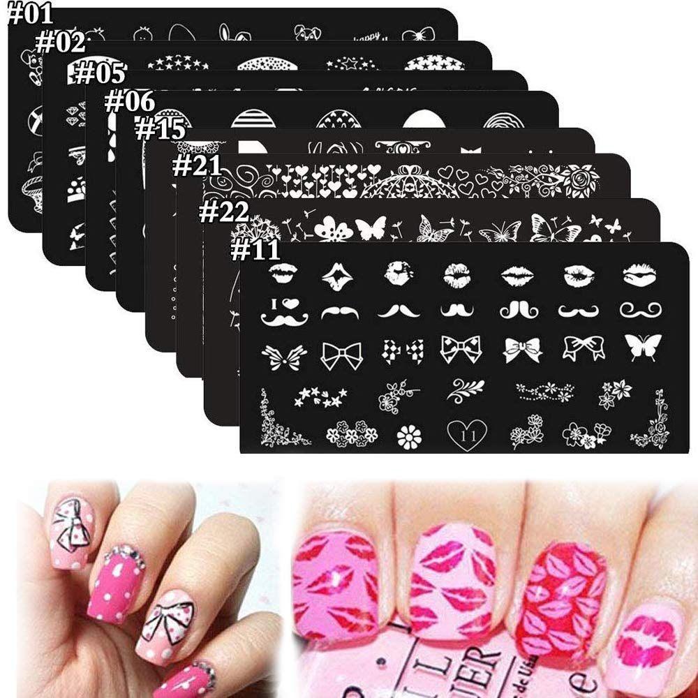 8Pcs Nail Stamping Kits Stamping Plates Stamper Scraper Set - DAODER Cute Sweet Heart Kiss Nails Love Animals Flower Nail Print Pattern Stainless Steel Manicure Plates + 1 Polish Stamper Scraper by DAODER