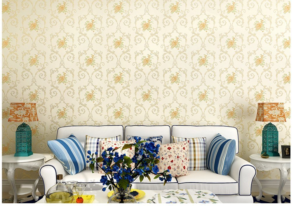 Non-Woven Temporary Self Adhesive Removable Wallpaper Luxury Embossed Floral Mural Wallpaper Stick and Peel Roll 20.83 Inches by 9.8 Feet by Glow4u (Image #4)