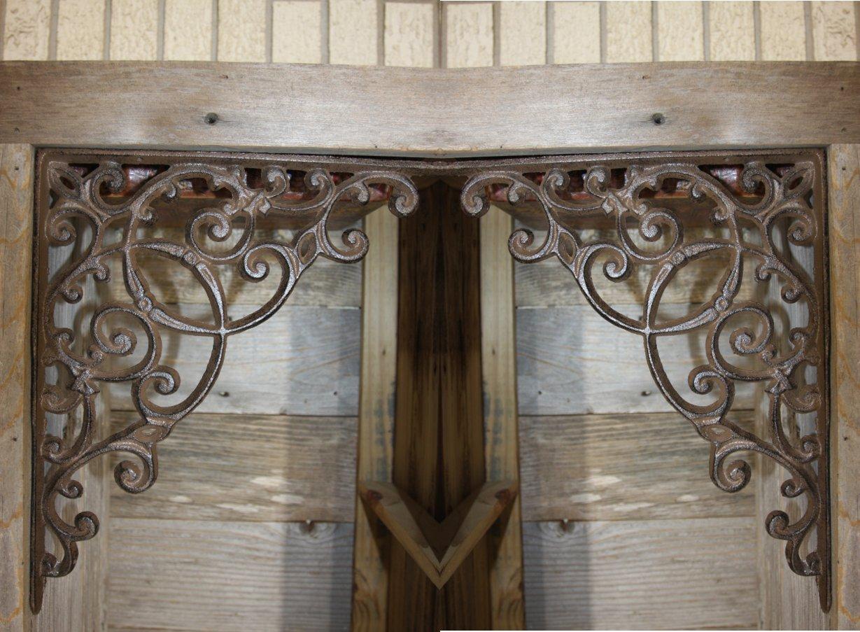 Elegant Farmhouse Entrance Way Corner Shelf Brackets Solid Cast Iron, 13'', Set of 2