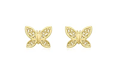 b91018e29 Carissima Gold Women's 9 ct Yellow Gold Butterfly Stud Earrings ...