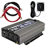 GoWISE Power 1500W Pure Sine Wave Power Inverter 12V DC to 120 V AC with 3 AC Outlets, 1 5V USB Port, 2 Battery Cables…