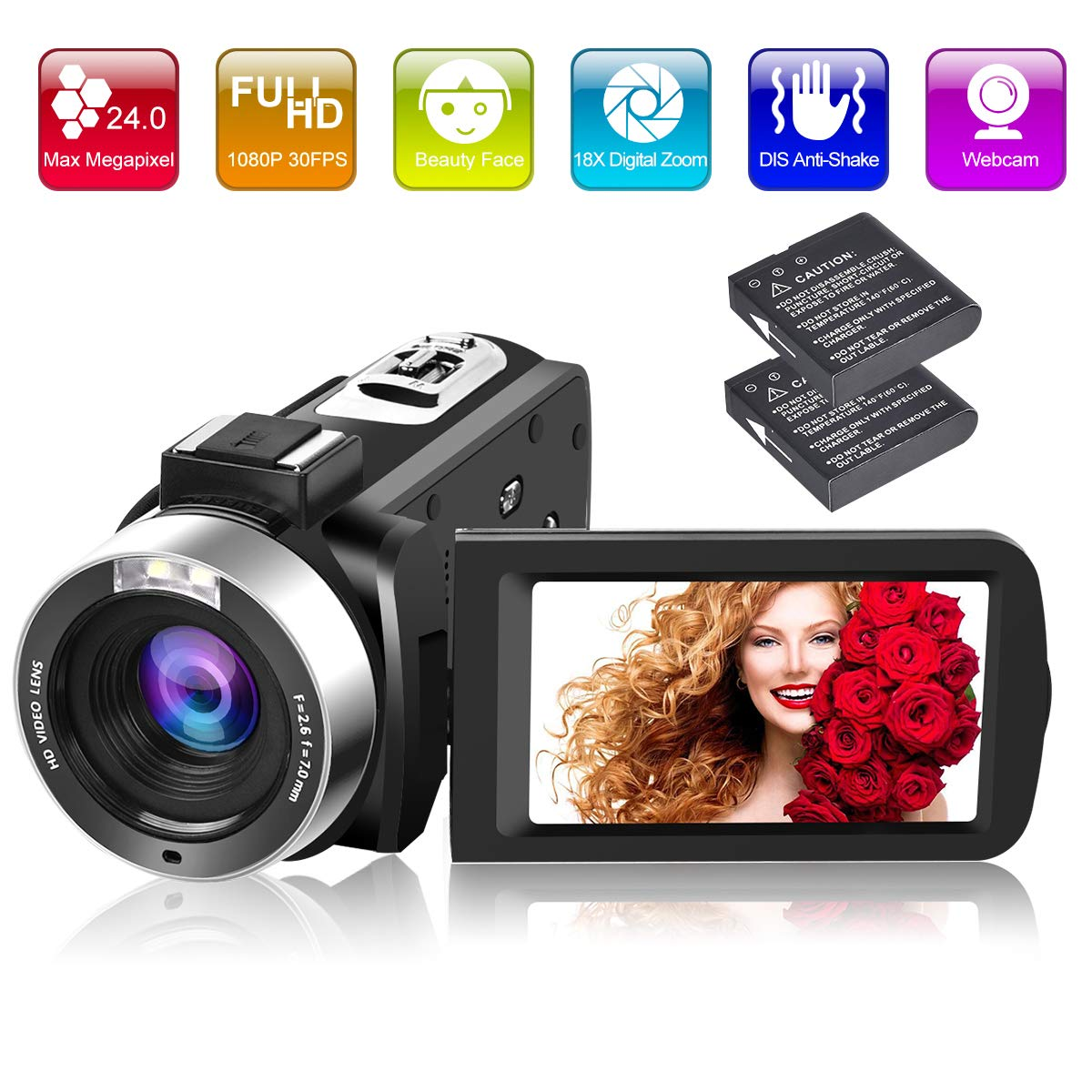 Camcorder Video Camera Full HD 1080P 30FPS 24.0MP 18X Digital Zoom Vlogging Camera with 3 Inch Screen 270 Degree Rotation Screen (V10-PP) by Longin