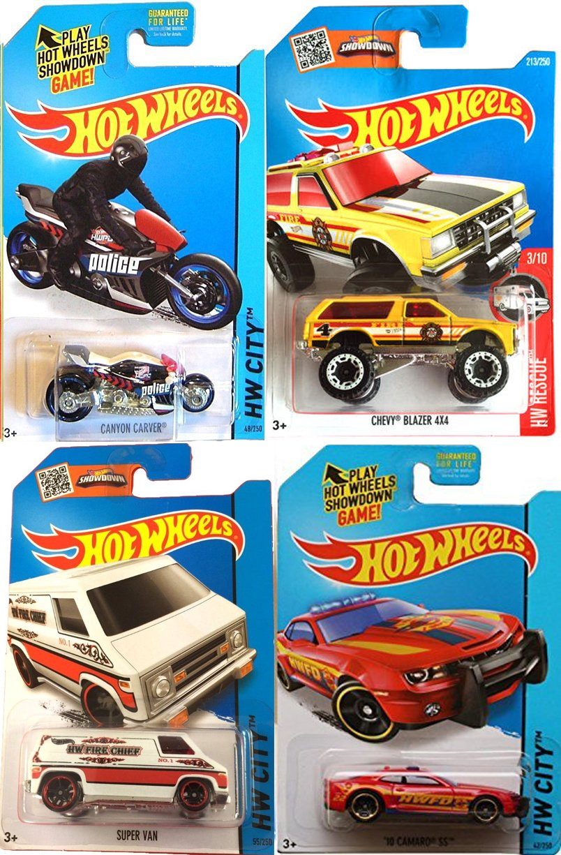 Hw hot wheels 2015 hw city 48 250 canyon carver police motorcycle - Amazon Com Hot Wheels Motorcycle Chevy Blazer Police Cycle 4 Vehicle Set Camaro Ss Super Van Fire Chief Canyon Carver Cycle 48 4x4 213 2016 Hw Rescue