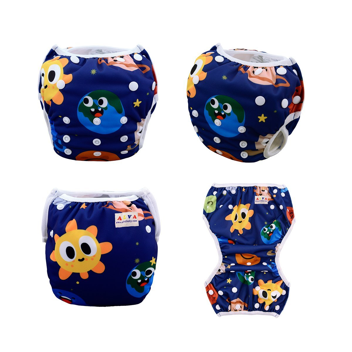 ALVABABY Swim Diapers Reuseable Washable Adjustable 0-36 mo.For Infants Toddlers Boys Girls 2 Pack One Size Swimming Lesson Baby Shower Gifts SWD29-31-CA