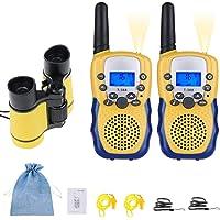 joyoldelf Walkie Talkie Niños y Prismaticos Niños, PMR446 8 Canales LED Linterna Incorporada LCD Pantalla Función VOX…